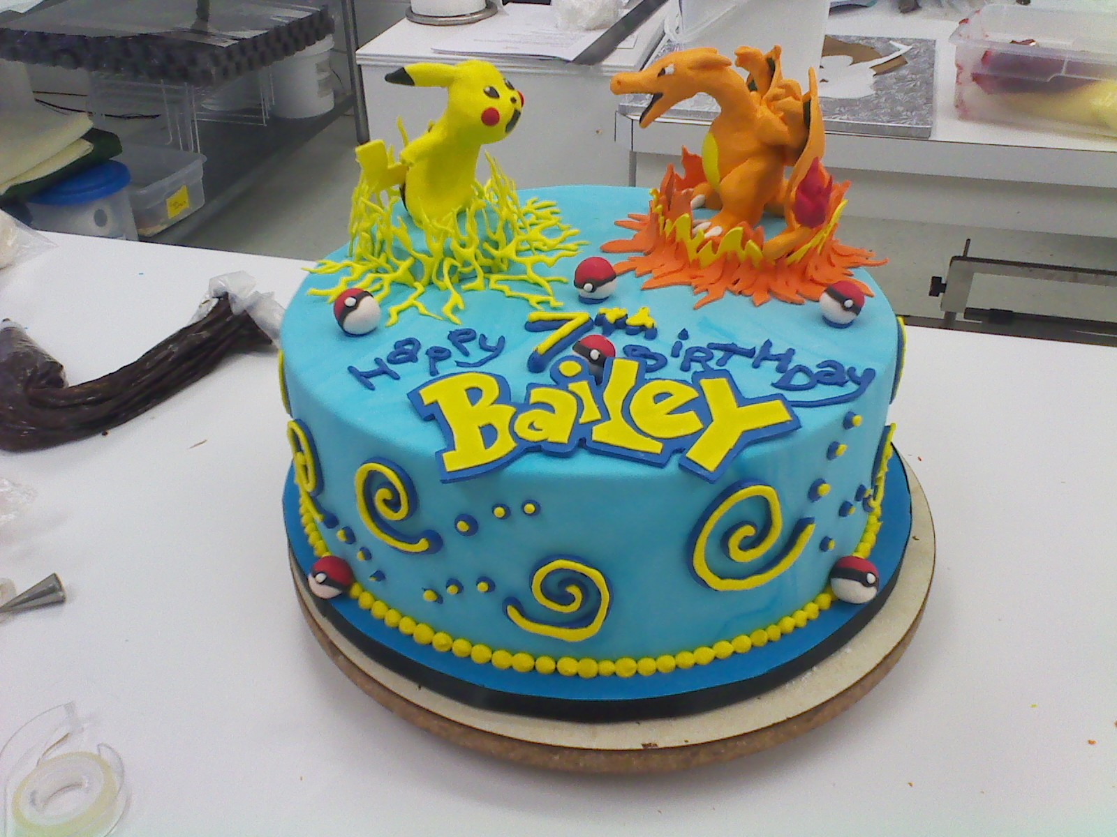 I Was Overjoyed To Create A Little Pikachu And Charizard Out Of Modeling Chocolate For Baileys 7th Birthday He Loved The Cake