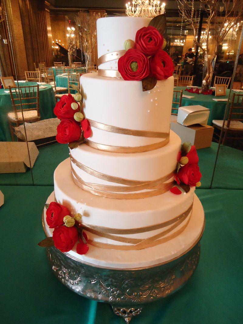 Red ranuculus cake